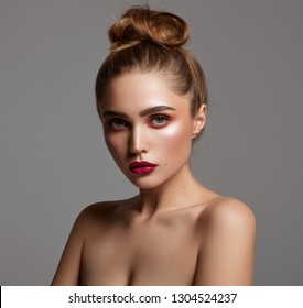 Beauty portrait of fashion young girl with natural clean skin