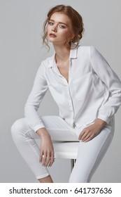 Beauty portrait of fashionable female model