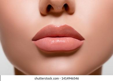 Beauty portrait girl close-up. plump natural lips - Image