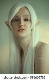 beauty portrait of girl in fantasy Image of an elf. White hair and face art. Long Elven ears. Fairy Tail