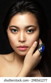 Beauty portrait of a girl in the studio