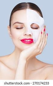 Beauty portrait with a mask sheet