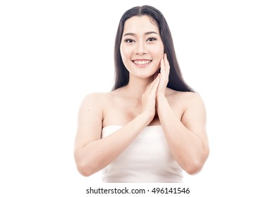 Beauty Portrait model. Beautiful spa asian woman. Beautiful asian woman face and Perfect skin. keep pore details.