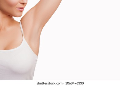 Beauty Portrait Model Woman smooth Armpits. Armpit epilation, lacer hair removal.woman holding her arms up and showing clean underarms, depilation smooth skin. Armpit epilation, lacer hair removal.