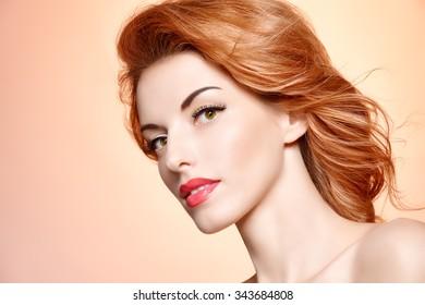 Beauty portrait nude woman, eyelashes, perfect skin, natural makeup, fashion. Sensual attractive redhead sexy model girl. Face closeup, spa