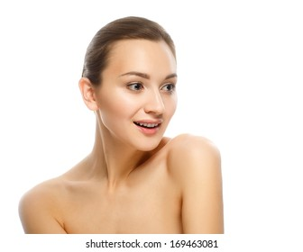 Beauty Portrait. Perfect Fresh Skin. Isolated on White Background. Pure Beauty Model. Youth and Skin Care Concept