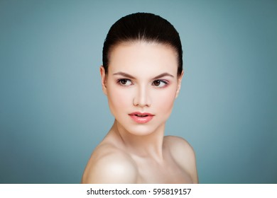 Beauty Portrait of Pretty Woman. Beautiful Face. Hairstyle, Natural Makeup, Fresh Skin