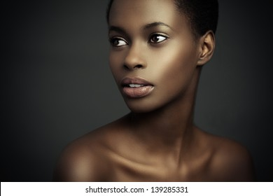 Beauty portrait of a sensual African woman.