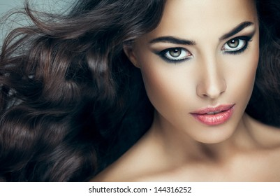 Beauty portrait of a sensual Caucasian woman.