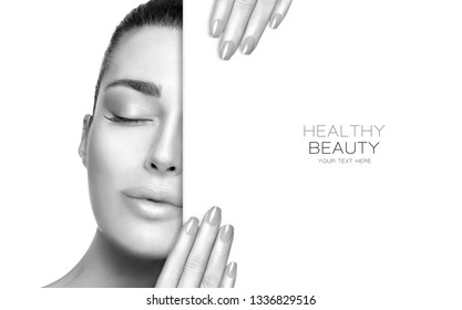 Beauty portrait of a sensual woman in greyscale with smooth flawless skin and subtle makeup posing holding a blank sign with closed eyes and manicured nails in a Skincare and healthy beauty concept