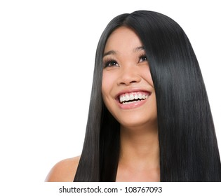 Beauty portrait of smiling asian girl healthy long straight hair isolated on white