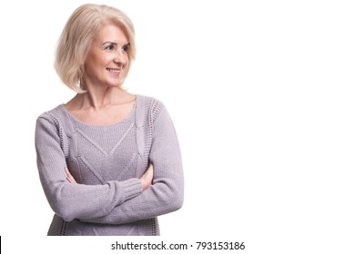 beauty portrait of smiling old woman looking away. anti aging concept. Isolated on white