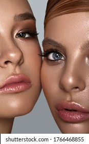 Beauty portrait of two sisters models with natural skin