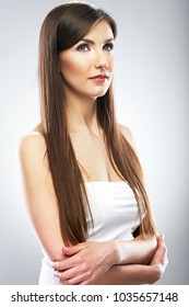 Beauty portrait of woman with long hair. Isolated portrait.