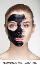 Beauty portrait woman skin care health black mask white background close up