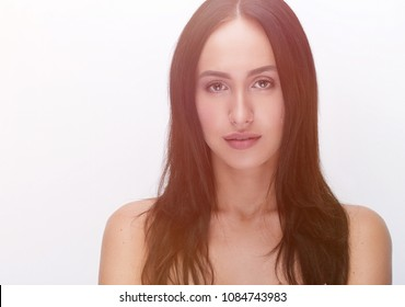 Beauty portrait of young, attractive, fresh, healthy and natural