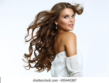 Beauty portrait of young attractive haired woman