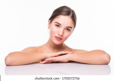Beauty portrait of a young attractive half naked woman with perfect skin laughing and looking at camera isolated over white background