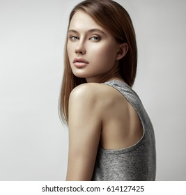 Beauty portrait of young beautiful pretty red-haired model girl with long  straight hair. f3054b6befb1
