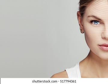 Beauty portrait of young female face with net. Anti aging, skincare, reflexology concept.