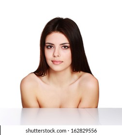 Beauty portrait of a young female model isolated on a white background