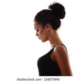 Beauty portrait of young fresh fashion woman in profile