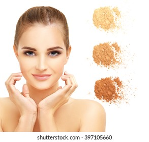 Beauty portrait of a young girl.Close up of a make up powder on white background