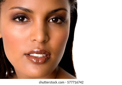 Beauty portrait of young hispanic fresh woman with beautiful makeup.