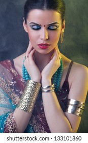 Beauty portrait of a young indian woman in traditional clothing