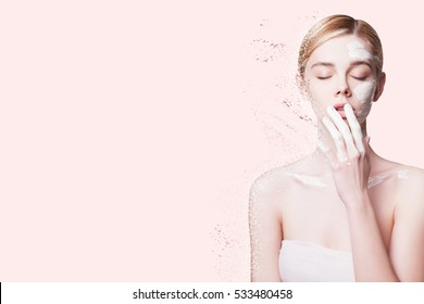 Beauty Portrait Young Woman Applies a Mask of white Clay Face, taking Care of the Skin. Anti-aging Facials. Woman with Perfect Skin Rejuvenation, Nutrition and Hydration, Skin  Exfoliation
