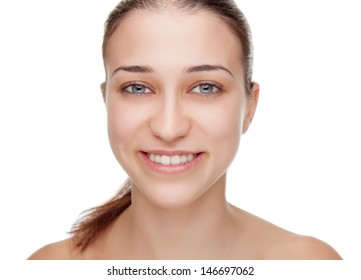 Beauty portrait of a young woman with clean skin