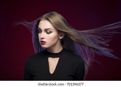 Beauty portrait of young women with perfect skin and long hair. Horizontal