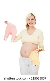 beauty pregnant woman with cloth for her baby