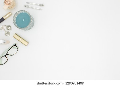 Beauty products top view white background space for text