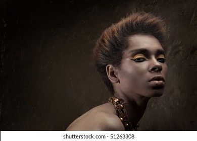 Beauty professional fashion model,studio shot with cool make up.Beautiful African American woman.