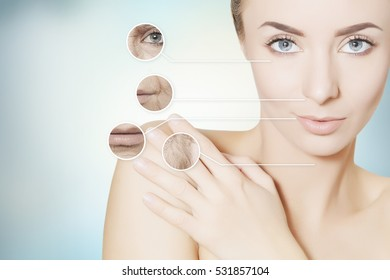 beauty renovating skin portrait of woman with graphic circles for product