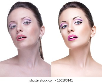 Beauty retouch portrait, before and after