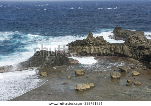 The beauty of rock formation and ocean at Alapad or Alepad Point in Batanes Island, Phillipines.