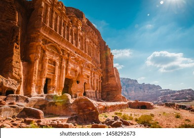 Beauty of rocks and ancient architecture in Petra, Jordan