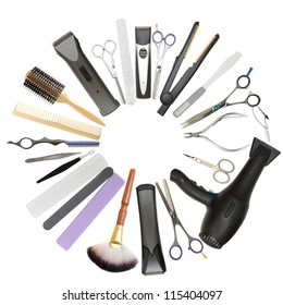 Beauty salon and barbershop background - professional hairdressing, manicure and pedicure tools