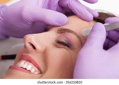 Beauty salon eyebrow treatment