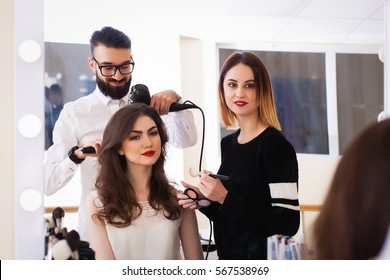 beauty salon, the girl makeup and styling in the salon, hairdressers and make-up artist, Concept for personal care and beauty