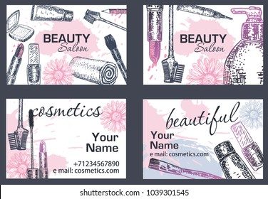 Beauty salon makeup artist business card stock photo photo vector beauty salon makeup artist business card hand drawn illustration creative template design with colourmoves Gallery