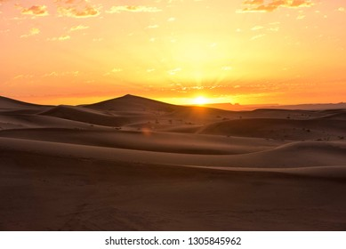 The beauty of the sand dunes in the Sahara Desert in Morocco