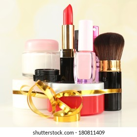 Beauty set gift on bright background