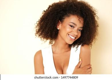 Beauty shoot of afro-american model.