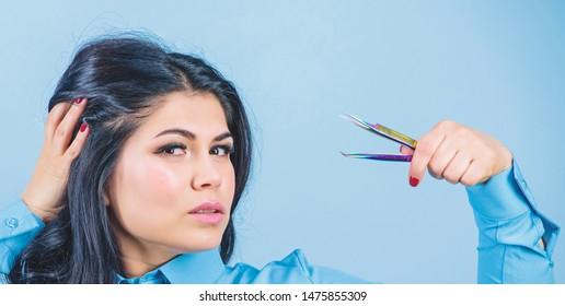 Beauty shop concept. Girl makeup face hold tweezer for eyelash extension. Makeup false lashes volume. Lash applicator. Eyelash extension tweezer. Professional makeup artist. Cosmetic tweezer tool.