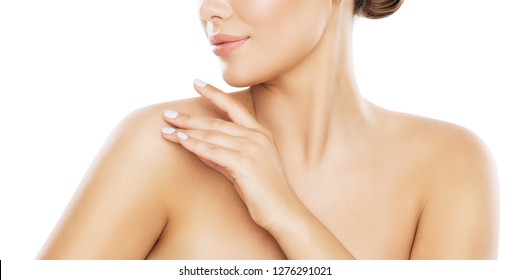 Beauty Shoulder Skin Care, Woman Applying Moisturizer by Hands, Young Model Isolated over White Background