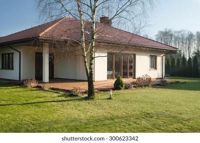 Beauty single-family home on sunny day