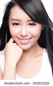 Beauty Skin care concept, Beautiful woman smile face with health teeth and hair isolated on white background, asian